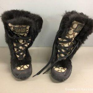 Coach Jennie Signature Khaki Brown Fur Boots rare
